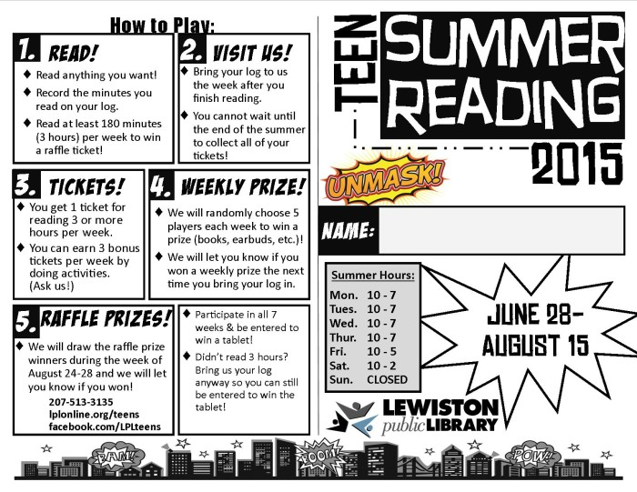 Summer Reading log front